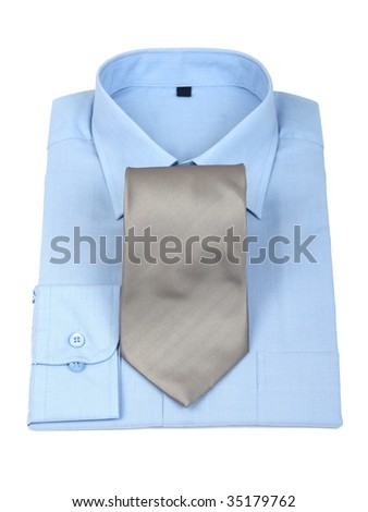 New blue shirt & silver tie - stock photo