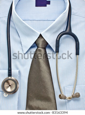New blue shirt with necktie hanging a stethoscope