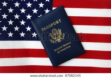 New Blue United States of America Passport isolated on US Flag background
