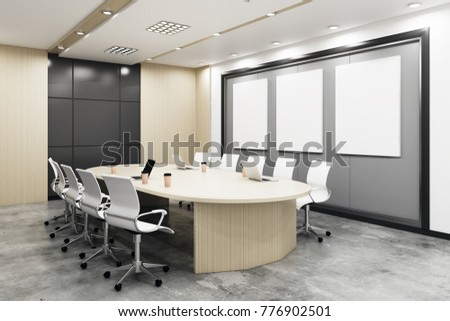New boarding room with empty banners on wall and equipment. Advertisement, presentation concept. Mock up, 3D Rendering  #776902501