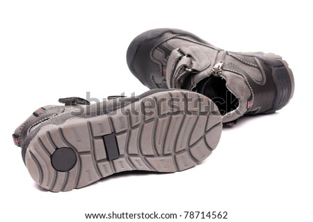 New boots child's fashion isolated on white background