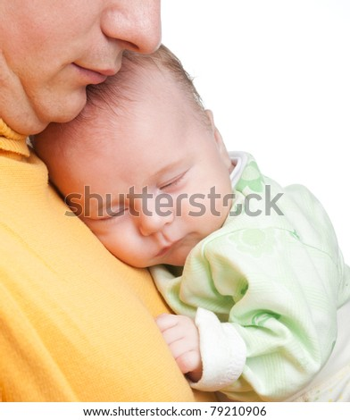 New born baby in father hands