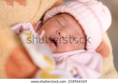 New born baby infant asleep