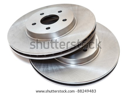 New brake discs isolated on white background