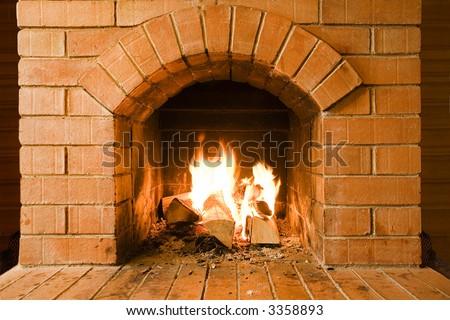 new brick fireplace