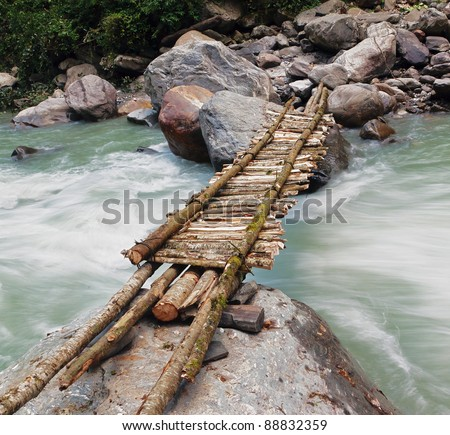 New bridge across Madi Khola on the way to Annapurna Base Camp - Nepal, Himalaya