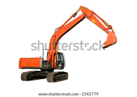 New building dredge of red color on a white background, Isolated