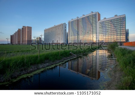 New buildings on the outskirts of St. Petersburg