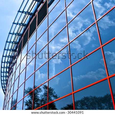 New business center windows reflictions, square composition