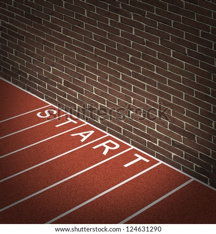 New business problems as unaccessible closed opportunities and no access to financial opportunity as a track and field race track start position with a brick wall blocking the way forward to success.