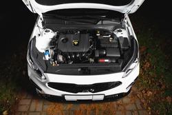 new car engine and parts under hood bonnet