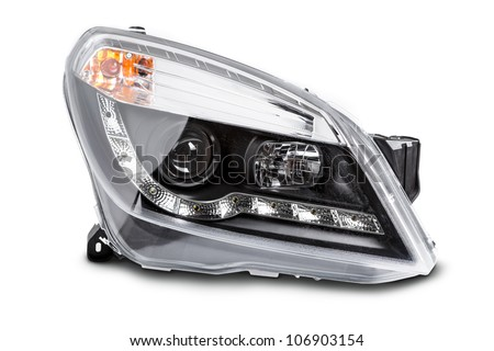 new car headlights on a white background #106903154