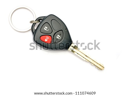 New car key on white background