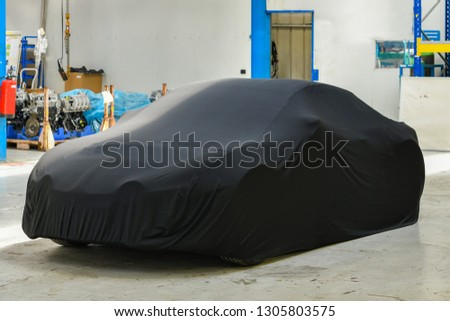 New car model at the factory before the presentation