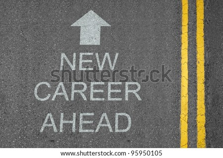 New Career Ahead concept road surface marking with arrow - stock photo