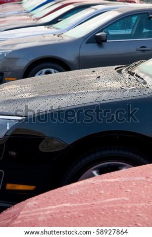 New cars at a dealership.
