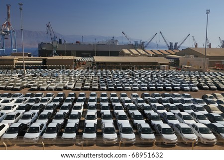 New cars lined up in the port of Eilat (Israel)
