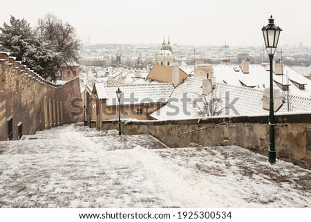 New castle stairs cold Nové zámecké schody from Prague castle to old town in the winter Zdjęcia stock ©
