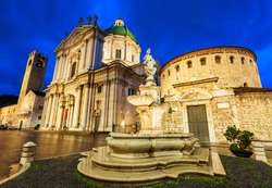 New Cathedral or Duomo Nuovo and Old Cathedral or Duomo Vecchio at the Piazza Paolo square in Brescia city in north Italy