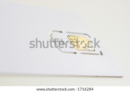 New cell phone sim card in blank white 'credit card' ready for branding.