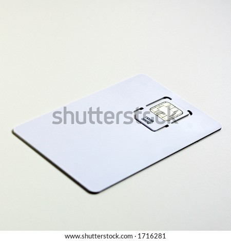 New cell phone sim card packaged in blank 'credit card'.