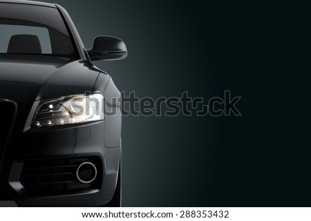 New CG 3d render of generic luxury detail black sports car driving illustration on a dark background. Mockup with stylized noise effects