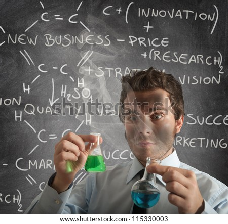 New chemical formula for new business - stock photo