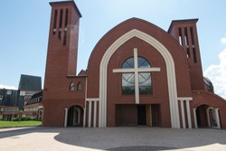 New church building at Shrine of Divine Mercy in the Valley of Divine Mercy at the Pallottine priests in Czestochowa, Poland. Wisible inscription: Pallottine priests