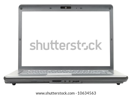 New classic gray laptop isolated with clipping path over white background