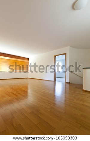 new classic house, interior, empty room with wooden floor