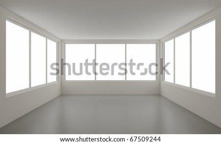 New clean interior, with clipping path for windows, 3d illustration