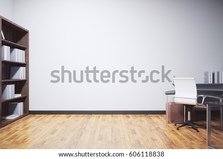 Shutterstock New clean office interior with furniture, wooden floor and blank concrete wall. Mock up, 3D Rendering
