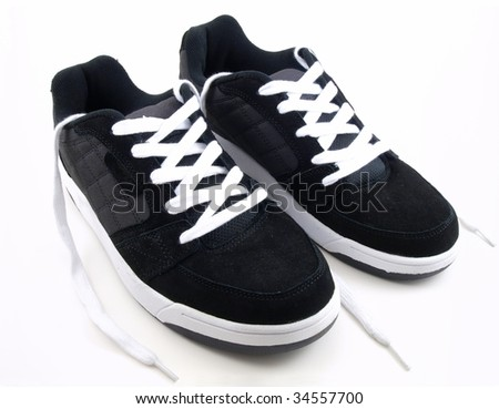 New clean sneakers fresh from the box. - stock photo