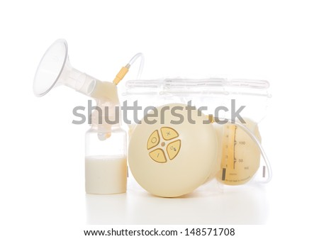 New compact electric breast pump to increase milk supply for breastfeeding mother and child feeding bottle with breastmilk isolated on white background