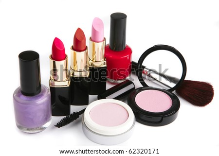 new complete makeup set isolated on white