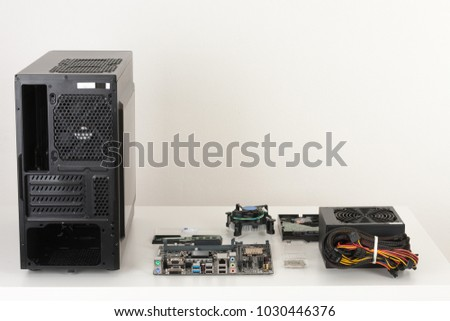 New components, hardware for building desktop PC. PC case, motherboard, processor, power supply, memory, fan, hard drive.  #1030446376