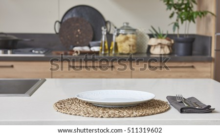 New concept of modern kitchen, kitchen accessories with new furniture and blurry appearance in the background