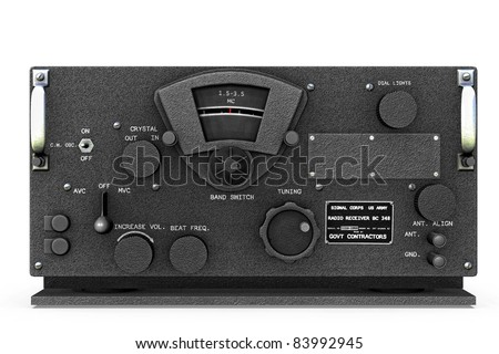 New condition base station World War II United States Army Signal  Corps Radio receiver and Transmitter  chipped. Original illustration on clean white background. Clip art or cutout