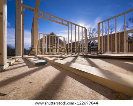 New construction of a house/Framed New Construction of a House/Building a new house from the ground up