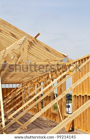New construction of a wooden building or house.