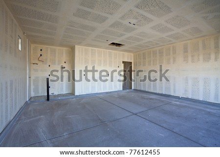 New Construction of Drywall/Plasterboard Garage Ready for Paint