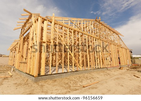 New Construction Wood Home Framing Abstract.