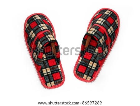 New Cozy Red Plaid Slippers isolated on white background