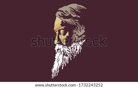 "New Delhi : APRIL 2020 : A illustration of India's famous poet "" Rabindranath Tagore"" ."