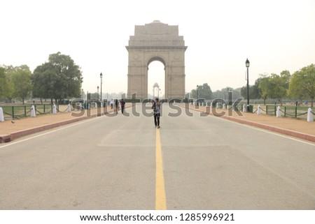 New Delhi, Delhi / India - January 16 2019 India Gate 10 days before the Indian Republic Day #1285996921