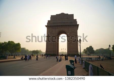 NEW DELHI, INDIA - April 26: Beautiful View in India gate  on April 26, 2019, New Delhi, India. #1382350490