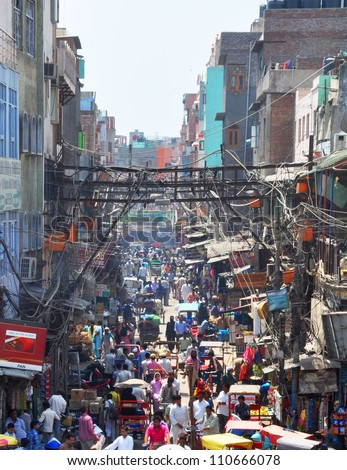 NEW DELHI, INDIA - APRIL 09: Chandni Chowk, originally meaning moonlit market, is one of the most historic (17th century) and busiest markets in India on April 09, 2012 in New Delhi.