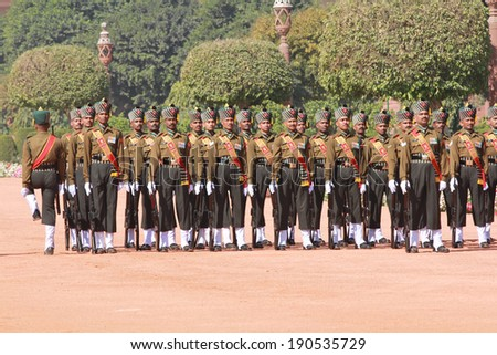 New Delhi, India -�� February 25, 2012: Changing of the guard at the Rashtrapati Bhawan, the residence of the President of India in New Delhi, National Capital Region, North India