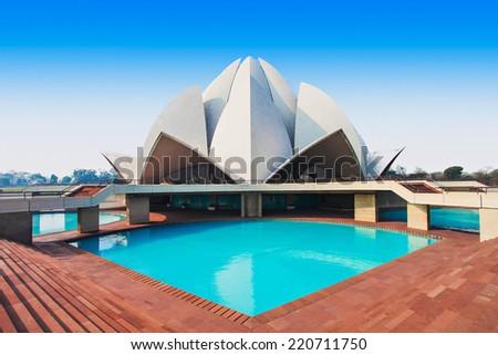 NEW DELHI, INDIA - FEBRUARY 12: Lotus Temple on February 12, 2014, New Delhi, India. The Bahai House of Worship in New Delhi, popularly known as the Lotus Temple due to its flowerlike shape.