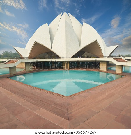 New Delhi, India - February, 15 2015: The House of Worship popularly known as the Lotus Temple due to its Lotus like structure in New Delhi, India